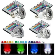E27 E14 GU10 MR16 3W 16 Color Changing RGB LED Light Bulb Remote Control Lamp