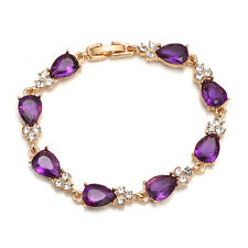 Women Yellow Gold Plated CZ Stones Crystal Flower Bracelets & Bangles Jewelry FK