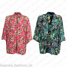 Ladies Women's Plus Size Floral Sheer See Through Baggy Shrug Cardigan Top