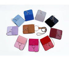 Leather Single Shoulder Bag Phone Pouch Purse Tote with Handle Rings Strap Chain