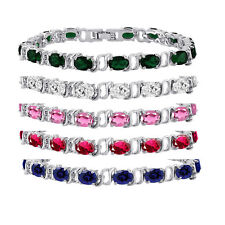 Silver Plated Brass Oval 7x5mm CZ Tennis Bracelet - 7 inch - Choose a Color