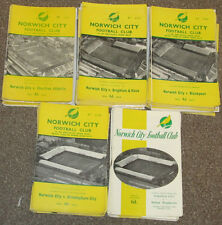 Norwich City Home Programmes 1960/1965  Choose from the list.