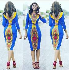 Sexy Women Ladies Long Sleeve Traditional African Prints Dashiki Dress Clubwear