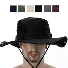 Safari Cotton Wide Brim Hat Western Cowboy Bucket Sun Visor Boonie Shade Caps