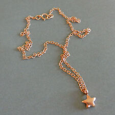 U&C Sundance 14k Rose Gold Vermeil Silver TINY STAR & Gold Filled Chain Necklace
