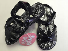 infant girls goody2shoes black patent flat velcro casual-party sandals