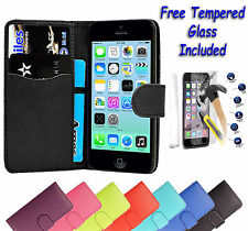 Leather Wallet Flip Book Case Cover For Apple iPhone Models + Free Tempered Glas