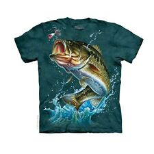 Bass Adult T-Shirt Fish Fishing Tee Large Water Ocean Mountain River New