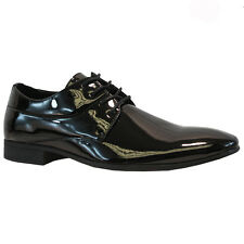 MENS BLACK LACE PATENT FORMAL ITALIAN CASUAL FORMAL OXFORD OFFICE WEDDING SHOES