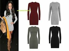 New Womens Celebrity Turtle Neck Long Sleeve Ribbed Bodycon Ladies Dress 8-14.
