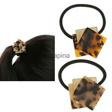 Vintage Square Leopard Print Elastic Hair Band Ties Pony Holder Accessories