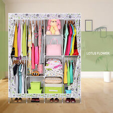 Large 7 Colors Triple Portable Dustproof Fabric Wardrobe Bedroom Clothes Storage