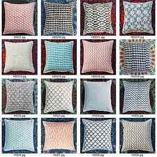 Handmade Printed Cushion Cover Indian 100% Cotton Pillow Cases Boho Decorative