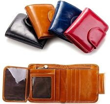 New Women Genuine Leather Trifold Wallet Short Card Holder Money Clip Purse
