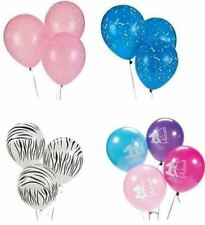 25 Count Zebra, 1st Birthday Girl/Boy Pink/Blue Latex Sprinkle Balloons 11""