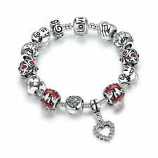 "Hot DIY Silver Plated Charm Bracelet ""Love"" with European Charms Glass Beads"