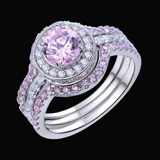5 Ct Halo Round 925 Sterling Silver Pink Sapphire Engagement Ring Set Size 5-11