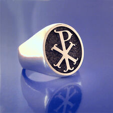 Chi Rho Ring Old Style- Solid Sterling Silver (#55)