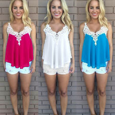 Women Summer Sleeveless Chiffon Tank Tops Vest V Neck Lace Casual Blouse Tops US