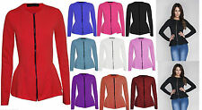 New Womens Ladies Zip Peplum Ruffle Plus Size Tailored Blazer Jacket Top UK 8-26