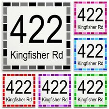 Custom House Number & Street Name Sign/Plaque - Ceramic Tile Print: Dash Border