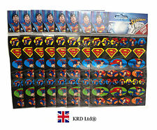 SUPERMAN Kids STICKER SHEETS Party Favors Bag Fillers Logo Stickers Pinata Gift