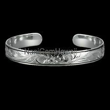 Hawaiian Bangle Plumeria Scroll 925 Sterling Silver Smooth 2 Black Line Cuff