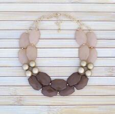 Neutral Brown Earth Tones Bib Statement Necklace Large Chunky Beads Beaded Chain