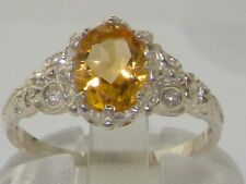 English Hallmarked Solid 925 Sterling Silver Natural Citrine Solitaire Ring