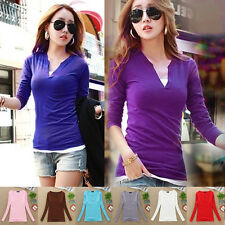 Womens Beautiful V Neck Blouse Stretch Slim Fit Bottoming Shirt Long Sleeve Tops