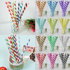 25pcs Disposable Striped Paper Drinking Straw Biodegradable Party Wedding Supply