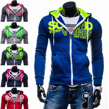 2016 Mens Slim Hooded Sweatshirt Zipper Coat Casual Plain Jacket Outwear Sweater
