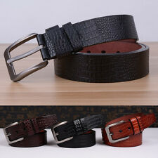 Fashion Men Casual Waistband Faux Leather Simple Pin Buckle Belt Waist Strap UK