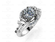 'Parisian' 1.25ct Round White Diamond Dove Sterling Silver Engagement Ring