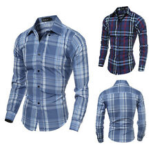 Mens Stylish Slim Fit Casual Plaids Long Sleeve Formal Dress Shirts HY#U