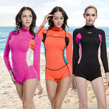 2mm Neoprene Woman Long Sleeve Scuba Wetsuits Shorts Jumpsuit Swim Dive Surfing