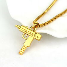 Top Quality Uzi Gun Gold Pendant Necklace Chain 18KT Gold Plated Hip Hop Bling Q