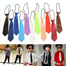 11 Colors Fad Boy Tie Kids Baby School Wedding Necktie Neck Tie Elastic SolidWK