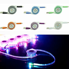 For iphone,ipad Retractable USB Micro LED Light Charger Changing Data Sync Cable