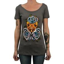 The Fox by Thea Fear Women's Scoop Neck Tee Shirt Tattoo Art Blue Roses