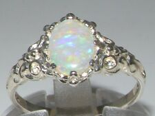 English Hallmarked Solid 925 Sterling Silver Natural Opal Solitaire Ring