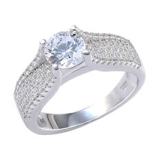 2.0 Ct Round Cut White CZ 925 Sterling Silver Engagement Ring Band Size 7 & 9