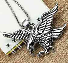 """New Gift Men Boy Silver Stainless Steel Eagle HAWK Pendant Necklace Chain 18-36"""""""