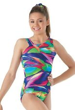NEW Rainbow Slash Foil Sparkle Asymmetrical Gymnastics Leotard Child & Adult
