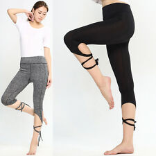 New Women's Sports Gym Yoga Workout Cropped Leggings Fitness Athletic Pants UK