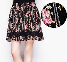 Hell Bunny Georgina Skirt Black Floral Rockabilly Pin Up Ruffle Mini Skirt