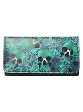 Rose & Skull Flap Wallet Alternative Gothic Rockabilly Punk Purse