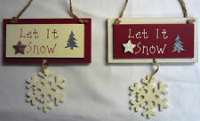 Let it Snow Glittery Snowflake 2 Piece Shabby Chic Christmas Decoration Sign