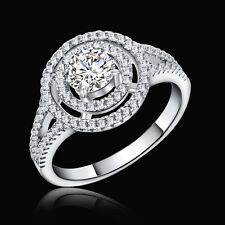 Round Halo CZ 925 Sterling Silver White Sapphire Wedding Engagement Ring Sz 5-10