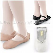 NEW Capezio Balera Pink Black White Full Sole Leather Ballet Shoes Adult Sizes